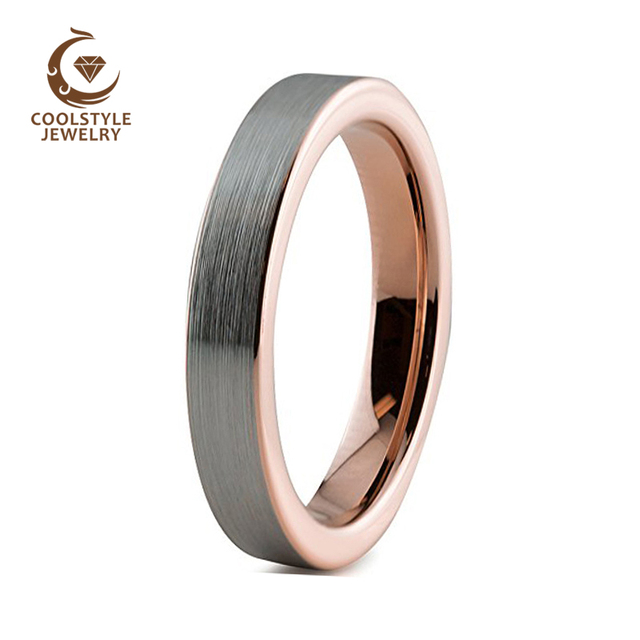 f09c4fffc5a 4mm Tungsten Carbide Wedding Band for Girls Womens Rose Gold Color Flat Silver  Brushed Finish Comfort Fit-in Wedding Bands from Jewelry   Accessories on  ...