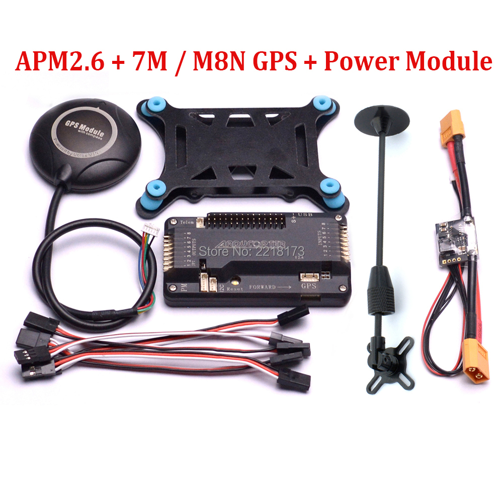 цена на ArduPilot Mega APM2.6 APM 2.6 Flight Control Board 7M / M8N 8N GPS with compass GPS Holder Power Module For F450 X500 Quadcopter