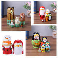 Wood Russian Nesting Matryoshka Dolls Set Toys Decoration Ornament Gifts Wooden Toys Baby Craft Doll Handmade Gifts for Kids
