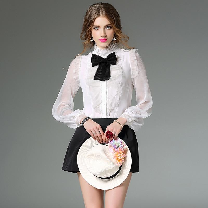 2017 vente chaude réel soie femmes hauts et chemisiers lanterne manches OL Blouse plissée volants Blusa Transparente Bow femmes chemises