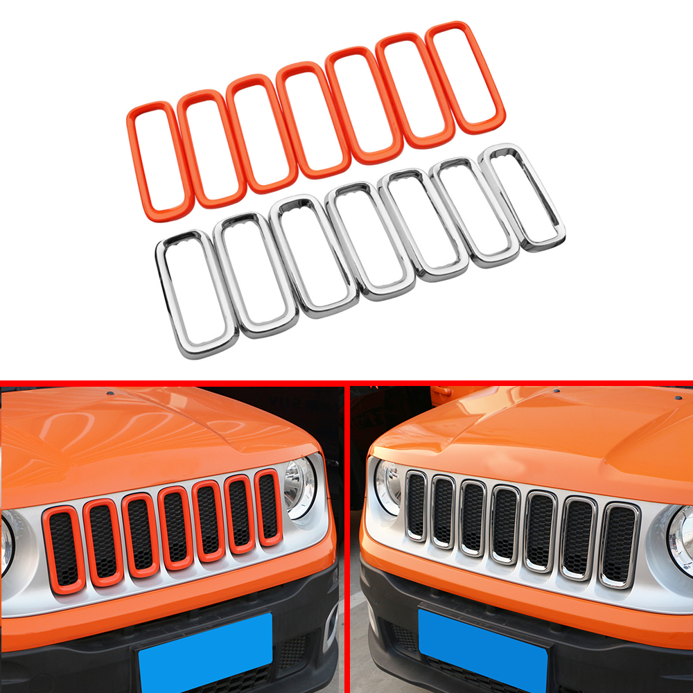 Car Front Grill Cover Car Grille Decoration Trim Covers Fit for Jeep Renegade 2015 2016 2017 2018 Accessories Jameo Auto image