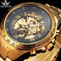 2016 Luxury Brand SEWOR Military Skeleton Watch Men Sport Mechanical Watches Montre Homme Relogio Masculino Erkek