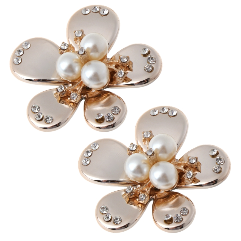 все цены на EYKOSI New 2pcs Shoe Decorations Pearl Clothes DIY High Heels Wedding Charms Floral Fashion онлайн