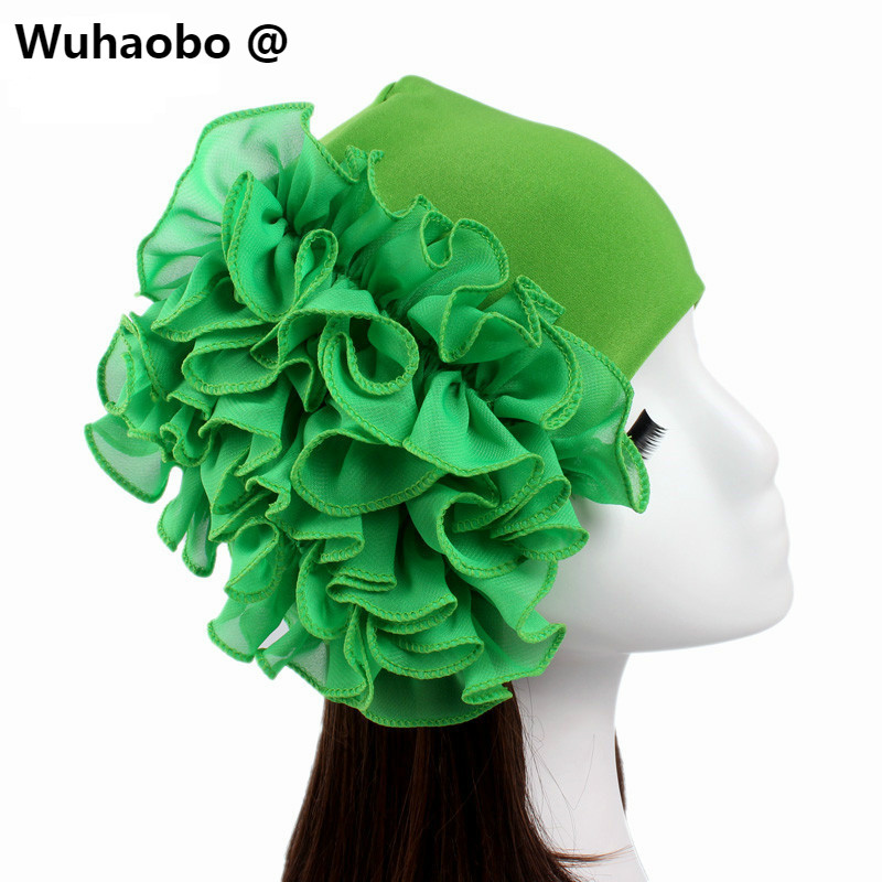 Wuhaobo New pattern Chiffon FLOWER Turban Hat 2017 Exotic Women Chemotherapy cap Fashion Lady Hats wholesale jaspreet kaur and neeloo singh antileishmanial chemotherapy