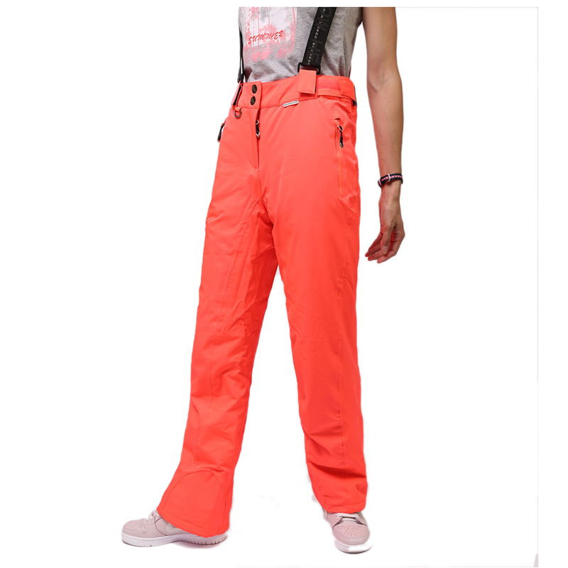 все цены на Women Ski Pants Outdoor Sports High Quality Suspenders Trousers Red Color Windproof Waterproof Warm Snowboard Pants