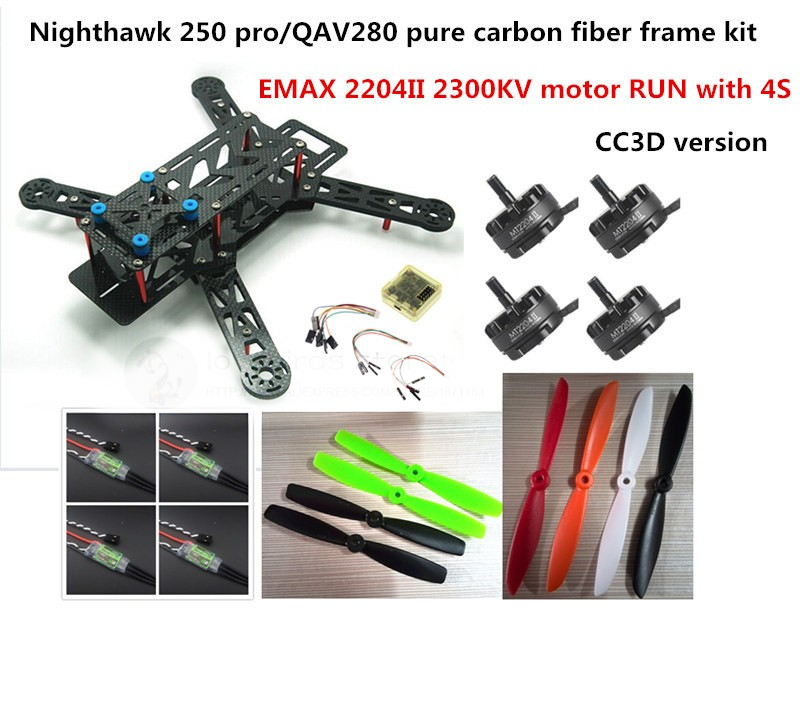 DIY mini drone FPV race quadcopter Nighthawk 250 pure carbon frame run with 4S kit CC3D + EMAX MT2204 II 2300KV + 12A ESC diy mini drone fpv race nighthawk 250 qav280 quadcopter pure carbon frame kit naze32 10dof emax mt2206ii kv1900 run with 4s