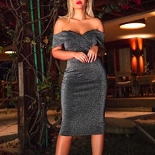 Sexy Women Dress Off The Shoulder Sleeveless Bodycon Evening Party Prom Gown Elegant Sheath Slim Dress Women Mid-Calf