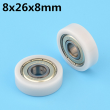 Pulley Bearings Plastic-Wheel 8x26x8-Mm Miniature Flat with Nylon POM Hard-Door Window-Drawer