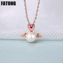 New 925 sterling silver original angel pearl natural ruby necklace female J0244