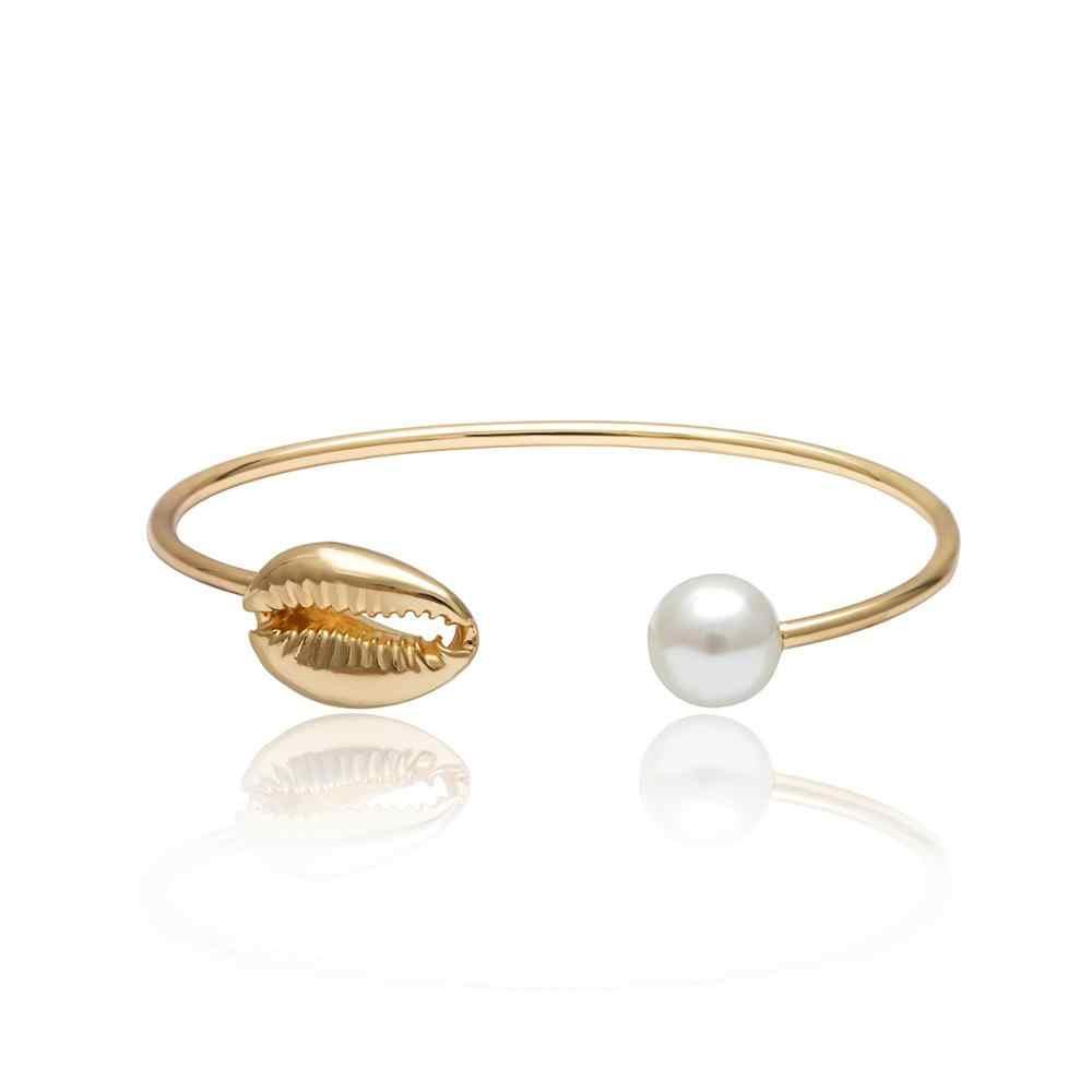 KMVEXO artystyczne złote szyszka bransoletki 2019 lato urok imitacja perły Cowrie muszla otwarte mankietów bransoletki biżuteria boho prezent