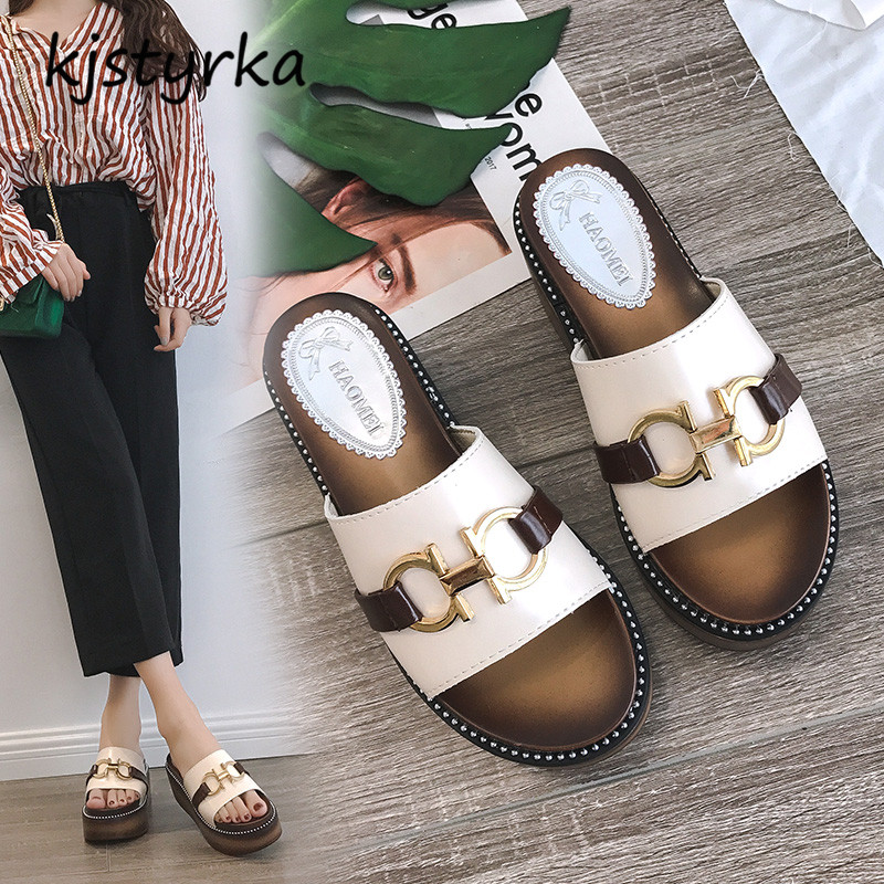 Kjstyrka 2018 Брендовая дизайнерская обувь летние дамские слипперы толстым дном дамы увеличить шлепанцы удобные шлепанцы Zapatillas mujer