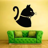 Wall Vinyl Sticker Bedroom Decal Nursery Kids Baby Cat Head Funny