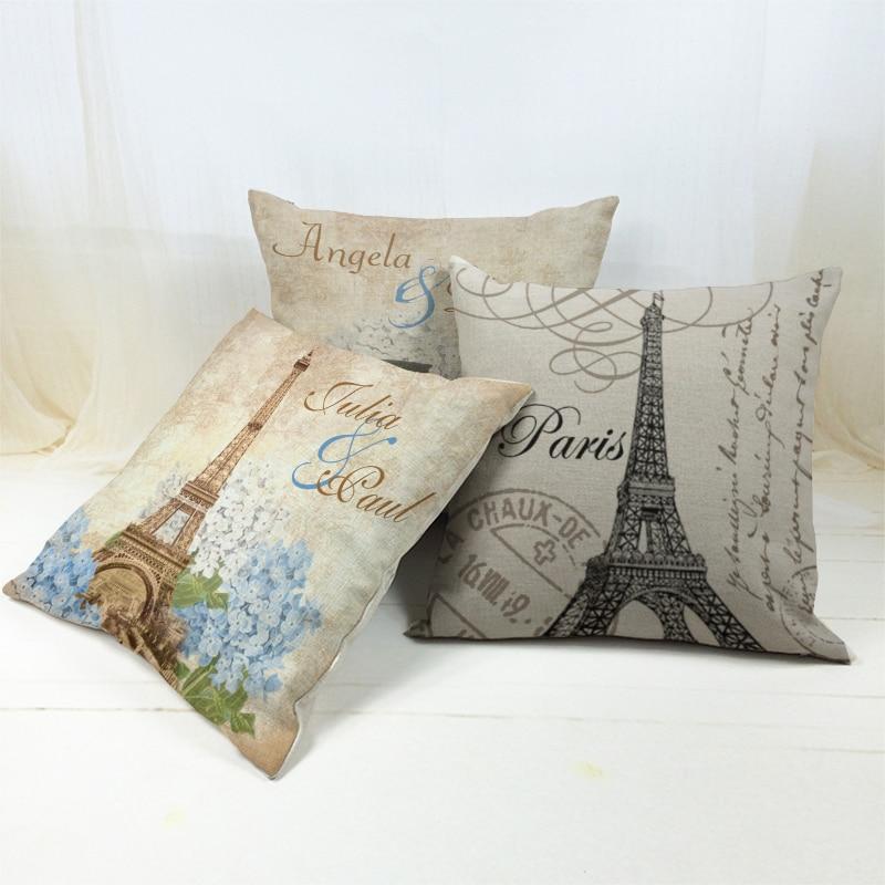 Fashion 45 *45cm Vintage Eiffel Tower in Paris Cushion cover The Roman Colosseum Pillow case Sofa Seat Cushion Cover cojines