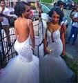 2016 Nuevo Blanco Correa de Espagueti Del Hombro de Partido Largo Vestido de noche Con Apliques Sexy Espalda Abierta de Encaje de Tul de Baile vestido