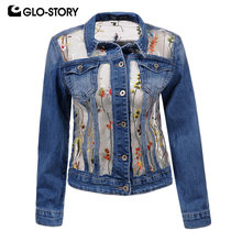 GLO-STORY  Women's 2018 Floral Embroidered Mesh Spliced Denim Jackets Women Casual Streetwear Jean Jacket Coat WFY-5861
