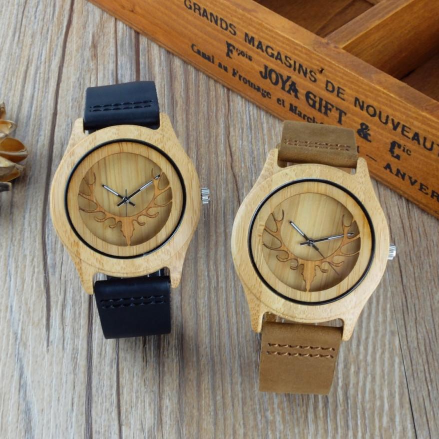 Prix pour 2016 Creux Cerfs Tête Bambou Bois Montre Sport pour hommes laides Avec Véritable Bracelet En Cuir Montre À Quartz cadeau montre livraison gratuite