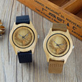 2016 Hollow Deer Head Bamboo Wood Casual Watch for men laides With Genuine Leather Strap Quartz Watch gift watch free shipping