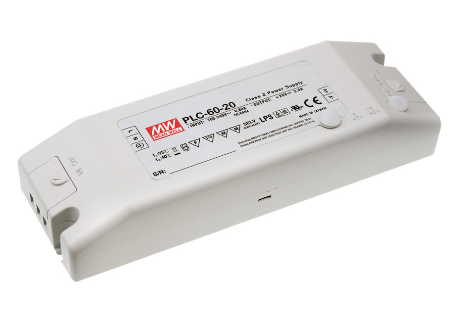 [Cheneng]MEAN WELL original PLC-60-20 20V 3A meanwell PLC-60 20V 60W Single Output LED Power Supply compatible projector lamp bulbs poa lmp136 for sanyo plc xm150 plc wm5500 plc zm5000l plc xm150l