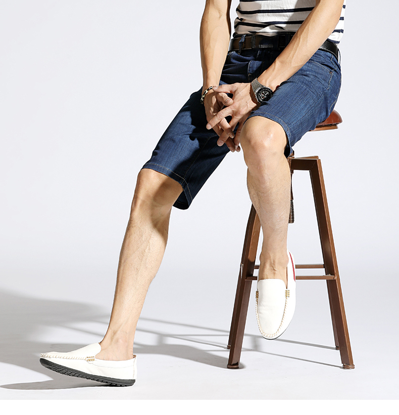 KSTUN Summer Denim Shorts Jeans Men Blue Slim Straight Business Casual Knee Length Shorts High Quality Elastic Brand Clothes 38 11