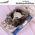 Couro flip case casos peludo coelho rex pele de diamante de cristal cobre saco de proteção completa para huawei p8/p8 lite/p9/p9 Lite