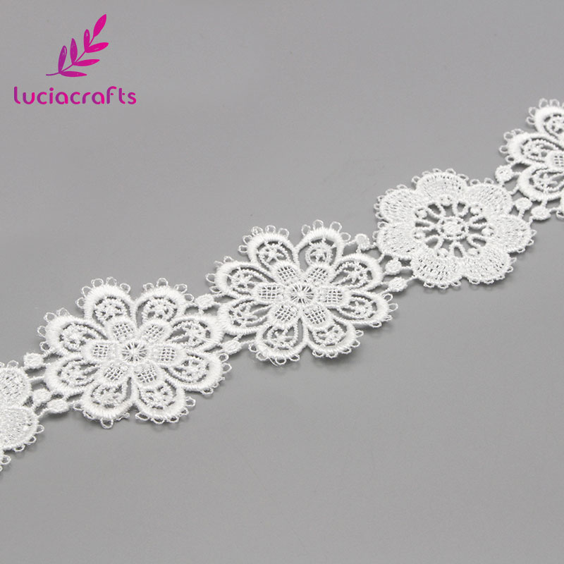 Image 5 - Lucia crafts 1yard/lot 5cm White Flower lace Embroidery Trim Ribbon DIY Wedding Sewing Garment Handmade Accessories N0506-in Lace from Home & Garden