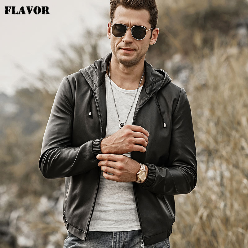 FLAVOR Men's Real Leather Jacket Hoodie Lambskin Genuine Nappa Leather Coat With Hood