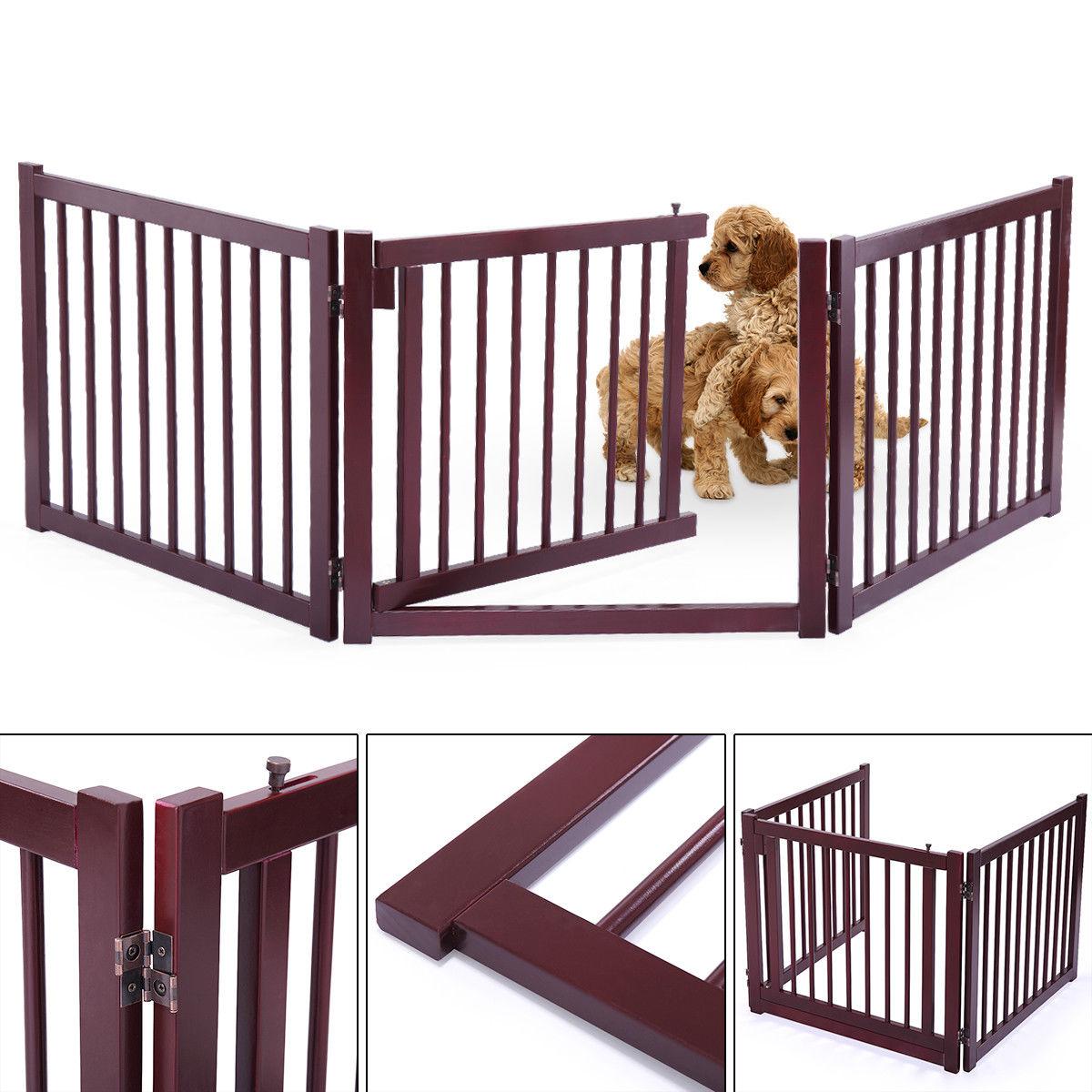 Wood Dog Pet Gate Indoor Barrier Free Standing Folding