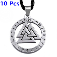 Wholesale 10 Pcs Valknut Odin 's Symbol of Norse Viking Warriors Amulet Mens Silver Pewter Pendant with Black Necklace WLP326