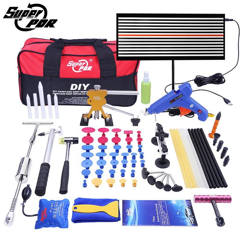все цены на Super PDR Paintless Dent Repair Tools Pump Wedge LED Lamp Reflector Board slide hammer Hand Tool Kit PDR Dent Removal Tools онлайн