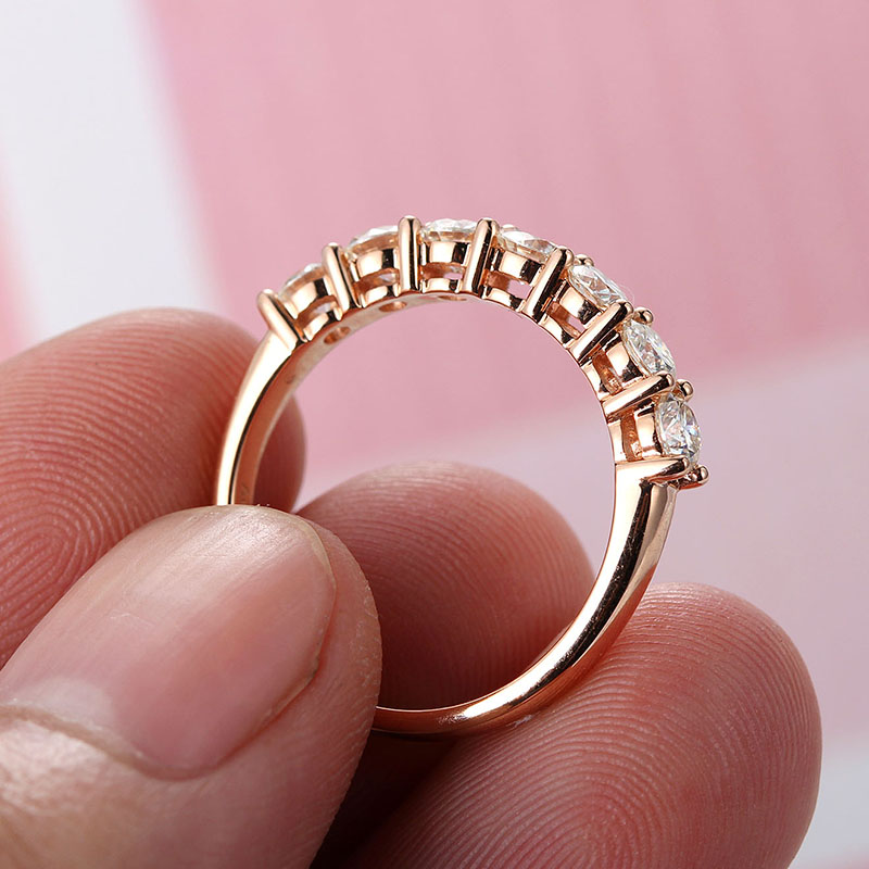Seven Stone Common Prong Moissanite Anniversary Band Lab Grown Diamond Ring in 14K Rose Gold