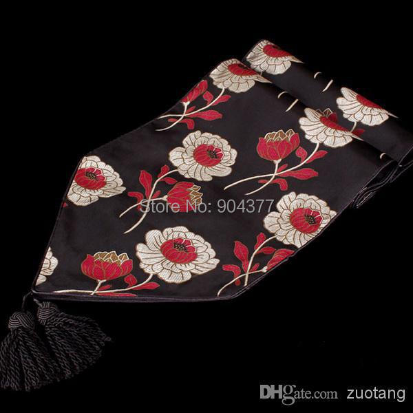 Dinner Party Black Damask Fabric Flower Table Runners Luxury Long  Decorative Coffee Table Cloths Size L200