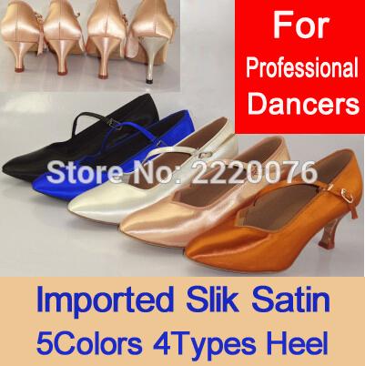Prix pour 10 Couleurs Classique Salle De Bal Chaussures Pour Femmes Marque Nouvelle Véritable En Cuir Moyen Talon Filles Valse Tango Foxtrot Rapide Étape De Danse chaussures