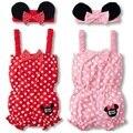 Faixas de Cabelo para as meninas se adapte Minnie ternos Do Corpo Do Bebê Criança Rompers Shortalls roupas Sem Mangas menina romper do bebê