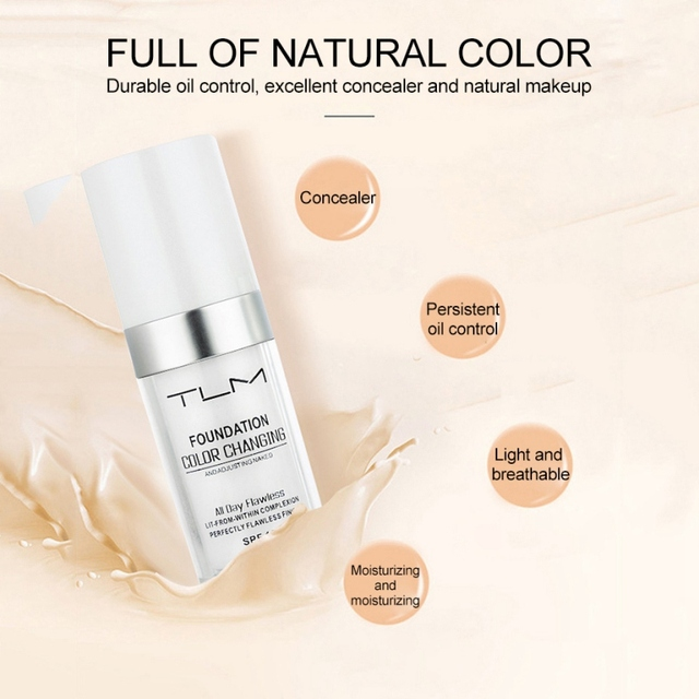 30ml  Color Changing Liquid Foundation Makeup Change To Your Skin Tone By Just Blending 5