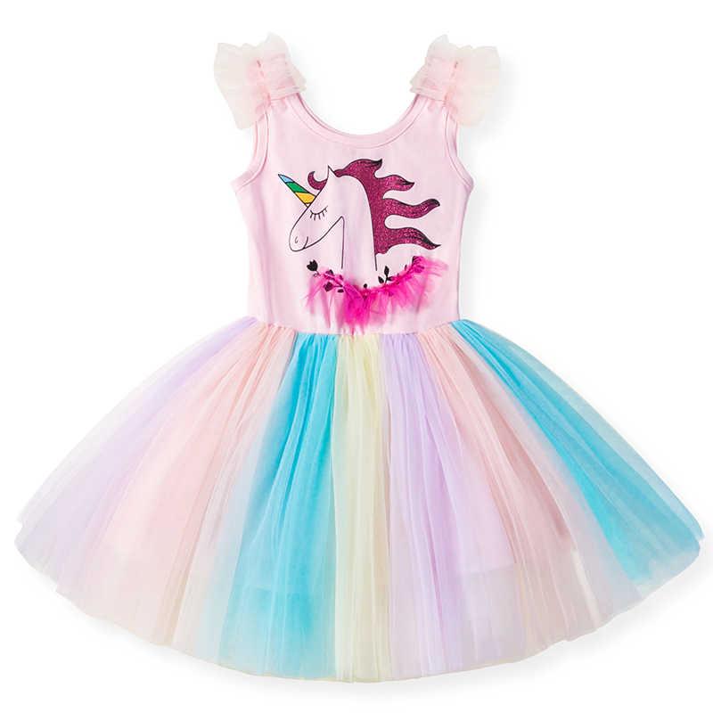 e4e82b6d69679 2019 Girl Unicorn Dresses for Girls Tutu Princess Party Dresses Rainbow  Birthday Costume Girls Clothing Summer Children Clothes
