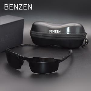 Image 3 - Benzen Gepolariseerde Zonnebril Voor Mannen Kwaliteit Al Mg Sport Zonnebril Mannelijke Uv Bescherming Outdoor Driver Glazen Goggles 9333