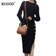 Rugod новый заклепки элегантные женское платье 2018 осень-зима с длинными рукавами вязаное платье для женская одежда Vestido De Mujer
