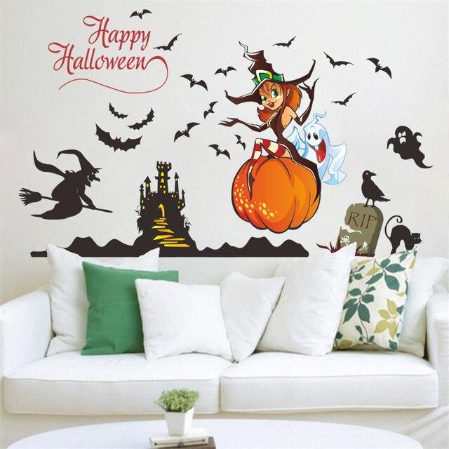 Cartoon Witch Ghost Pumpkin Castel Bat Wall Stickers For Kids Rooms
