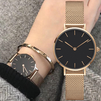 Top brand luxury women watches with milanese mesh watchbands fashion ultra slim Ladies watches 32mm silver rosegold gift watches