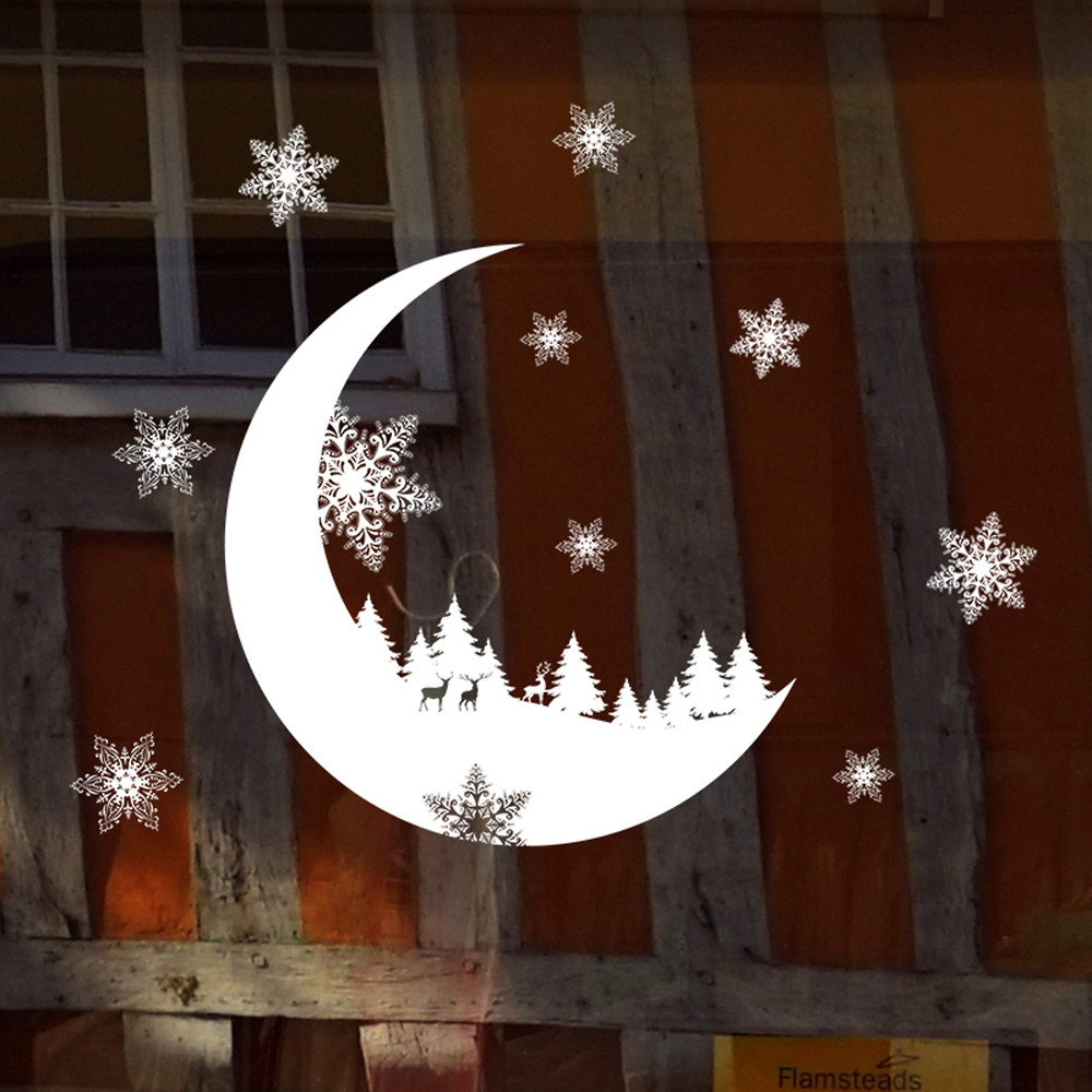 Christmas Wall Stickers Moon Christmas Tree Snowflake Home