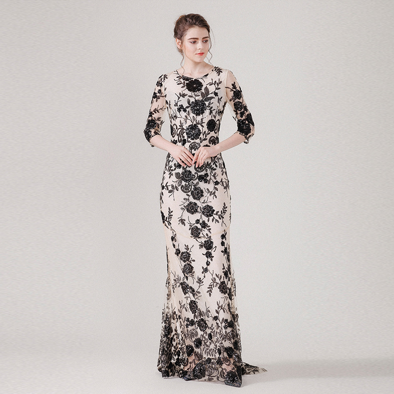 New high quality Vintage Sequined long dress spring and summer women Three Quarter sleeve Mesh embroidered Trumpet/Mermaid dress