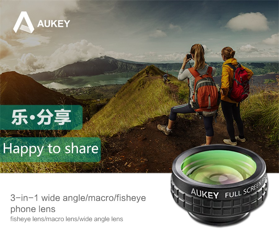 AUKEY Fish eye Lens 3in 1 Clip-on Cell Phone Camera 180 Degree Fisheye Lens+Wide Angle+Macro Lens for iPhone 7Plus Xiaomi & More 4