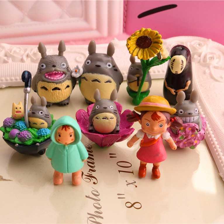 Japonês meu vizinho totoro mei mini figura conjunto crianças brinquedos miyazaki hayao casa ver decorações lote totoro estatuetas figura figura