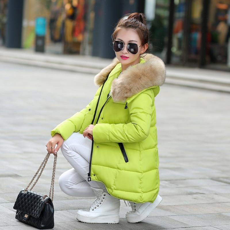Grande Wadded Invernale Giacca Dell'esercito E Formato verde Imbottito Medio lungo Collo Pelliccia bianco Giacche 2016 Di Cotone Più Femminile Donne Parka Cappotti verde Il Nero 4awpxY