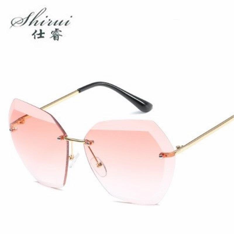 Sun Glasses Luxury Brand Designer Lady Oversized Rimless Sunglasses Women UV400