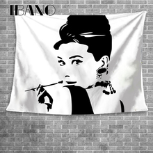 IBANO Black And White Hepburn Wall Tapestry Home Hanging Polyester Decoration for Livingroom Bar