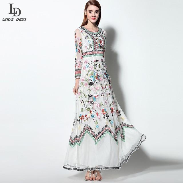 LD LINDA DELLA  Classic Autumn Winter Runway Designer Dress Women's Long sleeve Gauze Retro Noble Floral Embroidery Long Dress