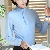 Spring Autumn Style Blouse Women Fashion White Chiffon Elegant Shirt Female Work Wear Office Ladies OL