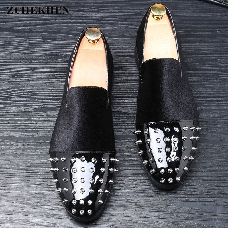 Luxury Brand Men Dress Shoes Microfiber Leather Comfortable Oxfords Shoes Rivet Design Men's Flats Formal Business Party