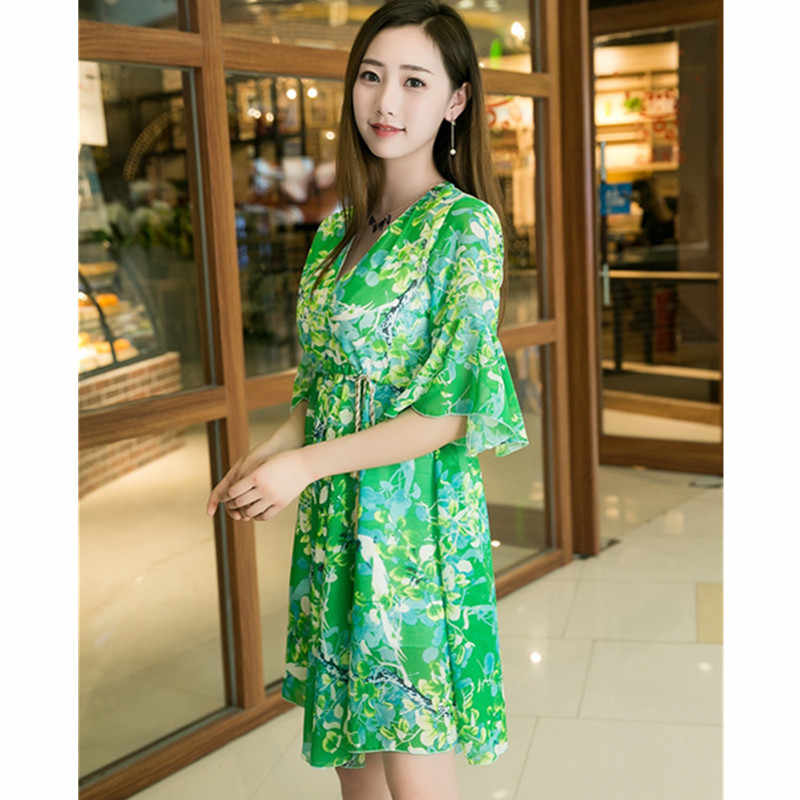 Plus size 4XL Summer Dress Women 2018 Chiffon Dress V collar Ruffles print pullovers top Flare sleeves Large swing dress B054
